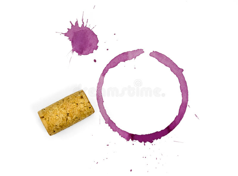 Red Wine Glass and Cork Stain. Red wine glass stain and cork stains with spatter and plain cork on a white background royalty free stock images
