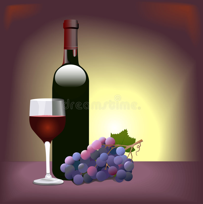 Free Red Wine Glass Grapes Stock Images - 3275354