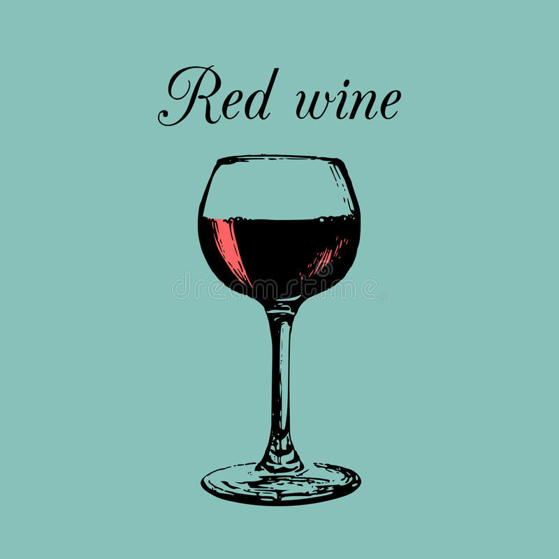 Red wine glass isolated. Hand drawn sketch of Claret for restaurant, bar, cafe menu design. vector illustration