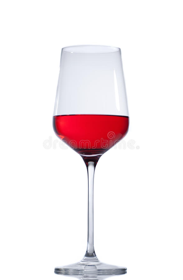 Red wine glass isolated on white background royalty free stock images