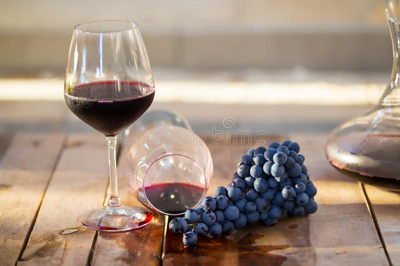 Red wine in a glass, overturned glass of wine, wine flowing, concept of drunkenness, symbol of fail, slight unpleasantness. Glass of red wine with purple grapes royalty free stock photo