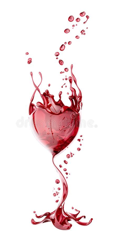 Red wine glass with splash over white background, abstract 3d rendering. Red wine glass with splash over white background, abstract isolated 3d rendering royalty free illustration
