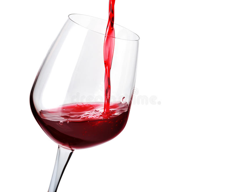 Red wine in glass stock images