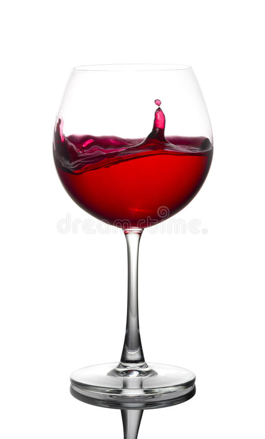 Red wine Glass on White background. Red wine Glass in White background on Glossy floor royalty free stock images