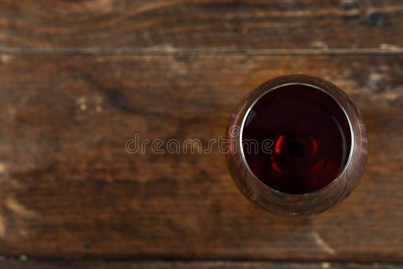 Wine in a glass top view royalty free stock photography