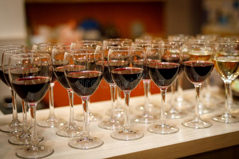 Red wine in glasses. Close-up stock photos