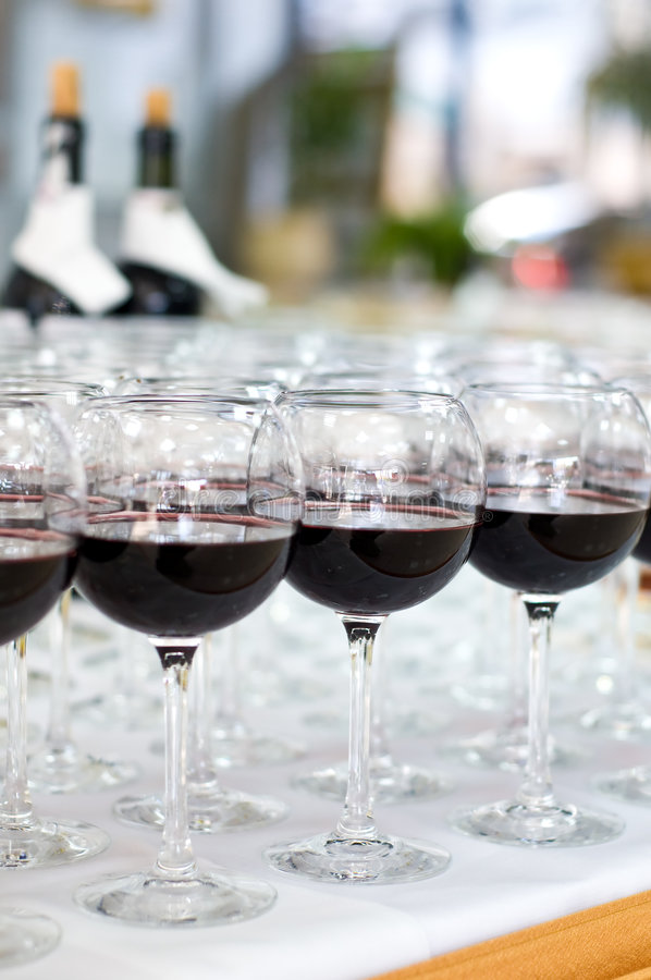 Red wine glasses, selective focus