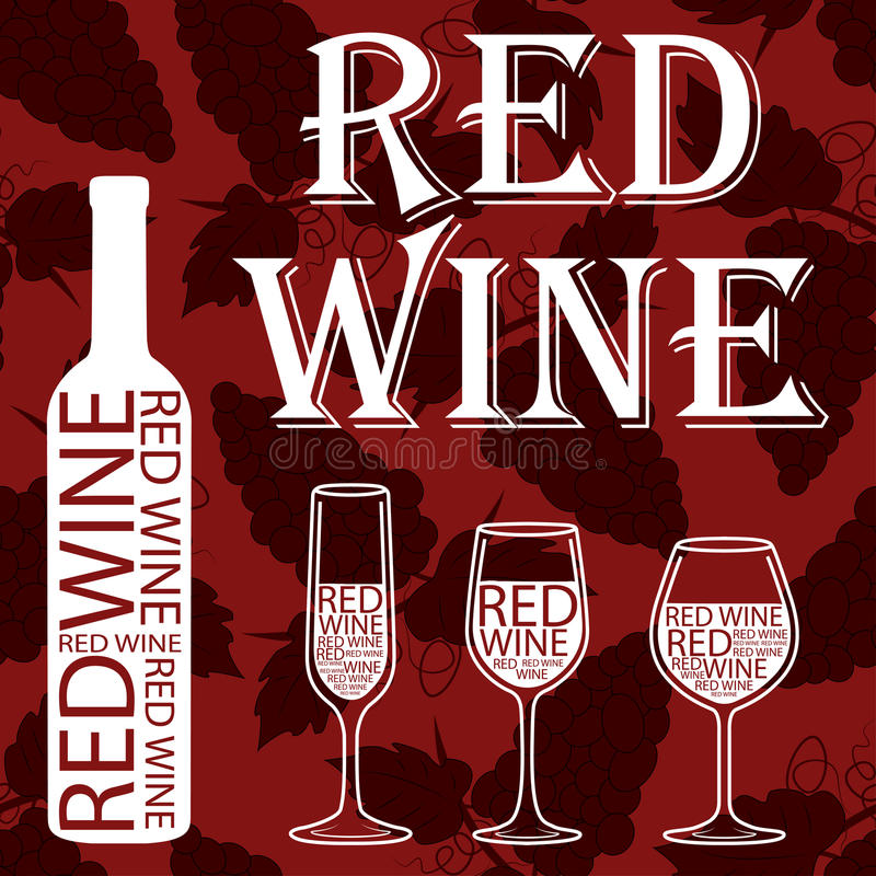 Red wine. grape pattern on a red background stock image