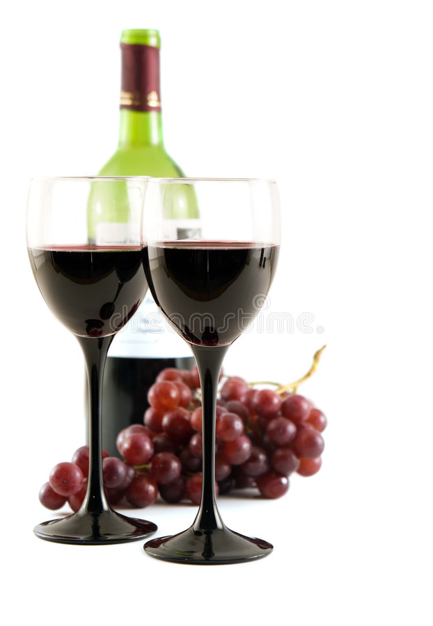 Red wine and grapes royalty free stock photos