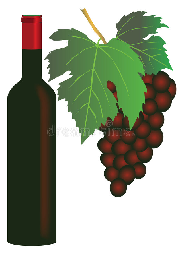 Red wine and grapes royalty free illustration