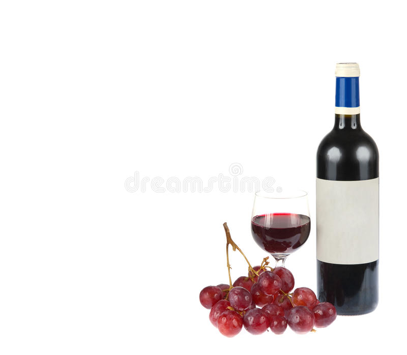 Red wine with grapes isolated on white