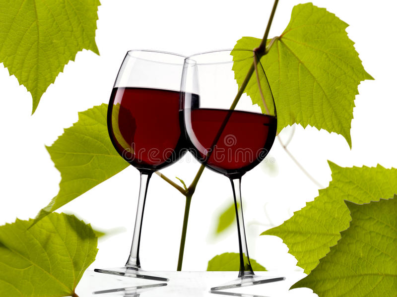 Download Red Wine With Grapes Leaves Stock Image - Image of garden, glass: 26429907