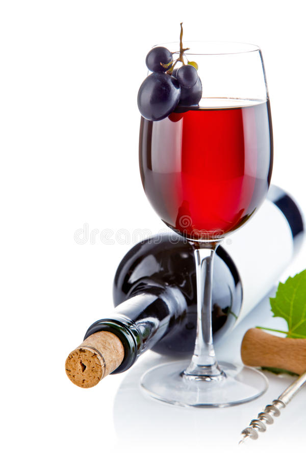 Free Red Wine In Glass With Grapes Stock Images - 21015064