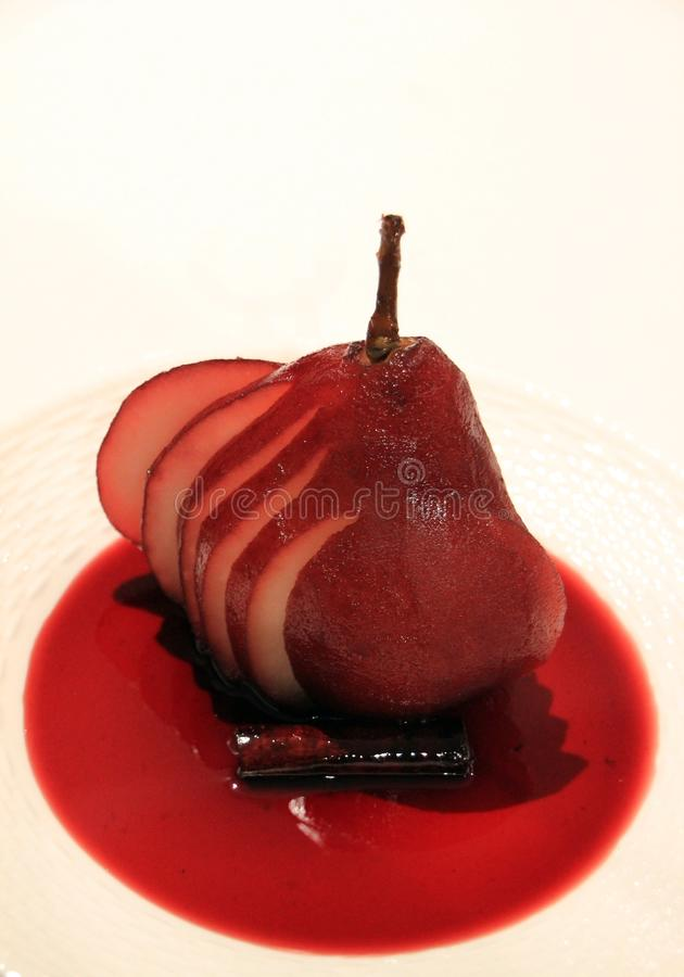 Red Wine Poached Pear Royalty Free Stock Image