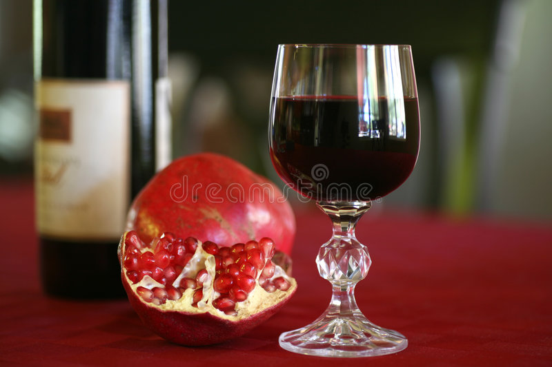 Red Wine and Pomegranates stock photos