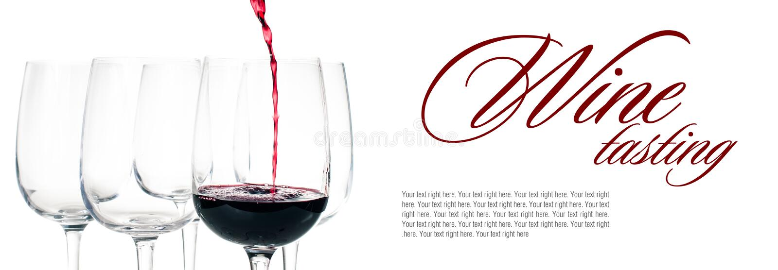Red wine pouring into empty glass stock photos