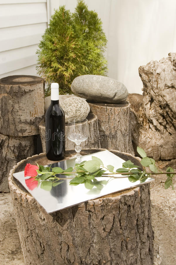 Red Wine And Rose Royalty Free Stock Photos