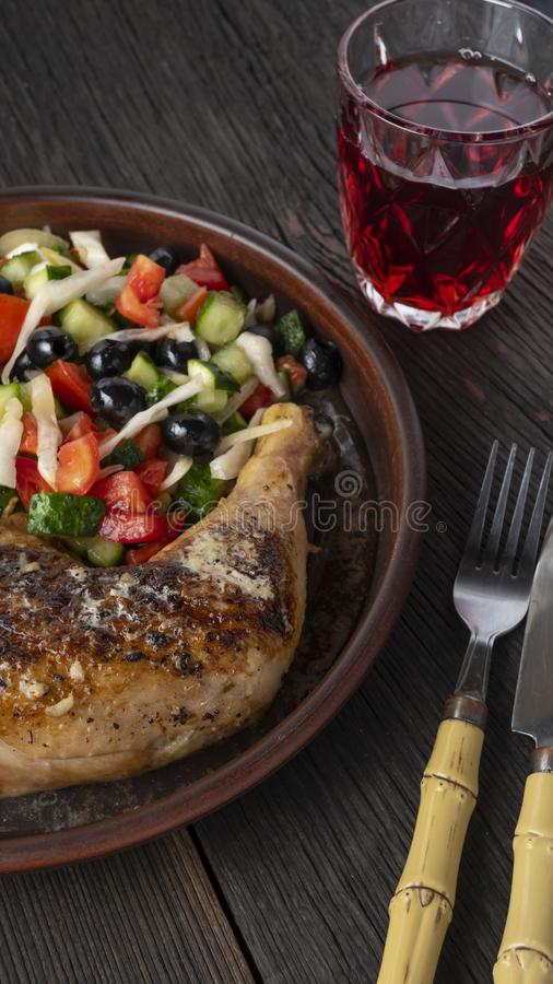 Chicken marsala sauce, grilled chicken pasta salad, chicken karaage, greek salad, honey garlic chicken thighs, korean fried, royalty free stock image