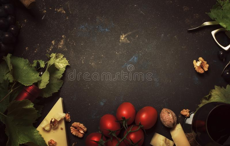 Red wine and snacks, Italian food concept, frame, copy space, top view stock photo