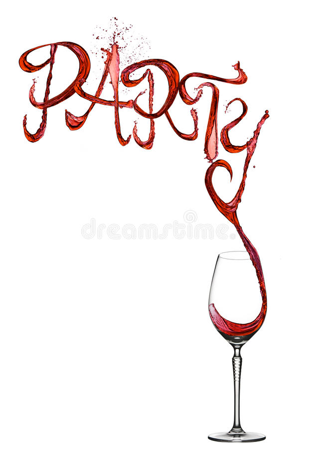 Red wine splash party font pouring to glass stock image
