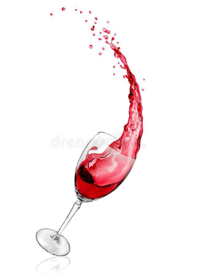 Red wine splashes from a glass on a white background stock photography