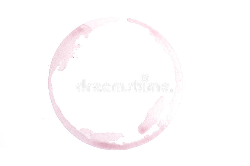 Red wine stain. On white background stock images