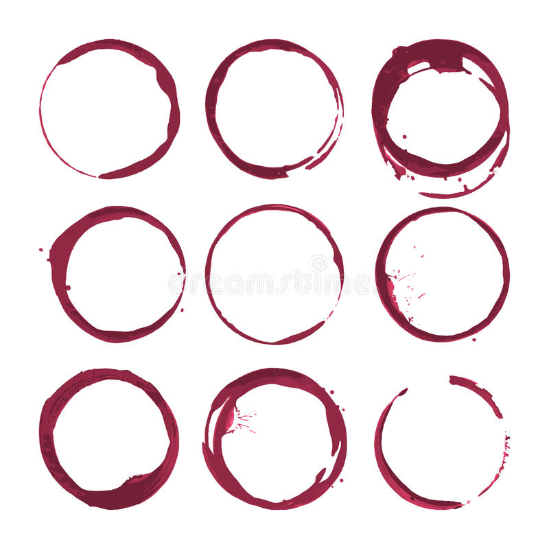 Red wine stains. Traces wine splashes set. Vector. royalty free illustration