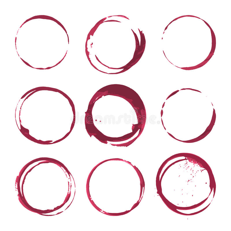 Red wine stains. Traces wine splashes set. Vector. vector illustration
