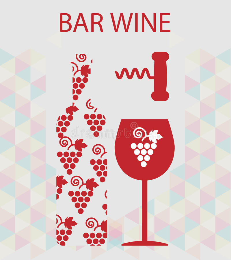 Red wine and tasting card stock illustration