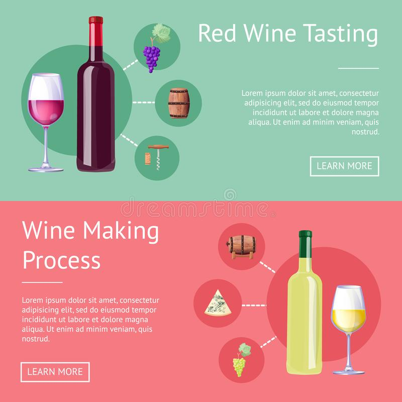 Red Wine Tasting and Making Process Promo Banners. Bottles with red and white vino on Internet pages. Delicious alcohol drink vector illustration stock illustration