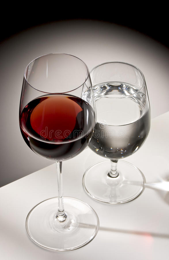 Red wine and water stock images