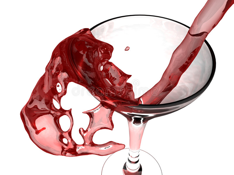 Red wine and wine glass royalty free illustration
