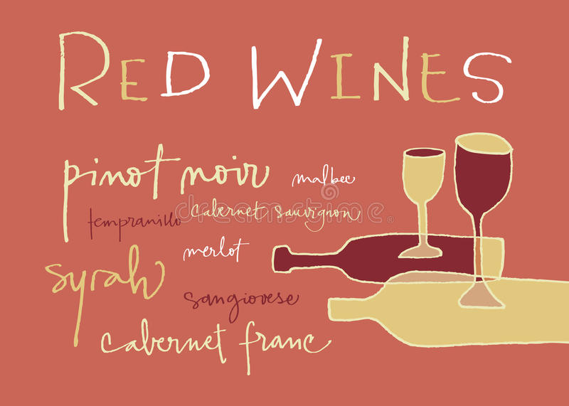 Red wines varieties royalty free stock photography