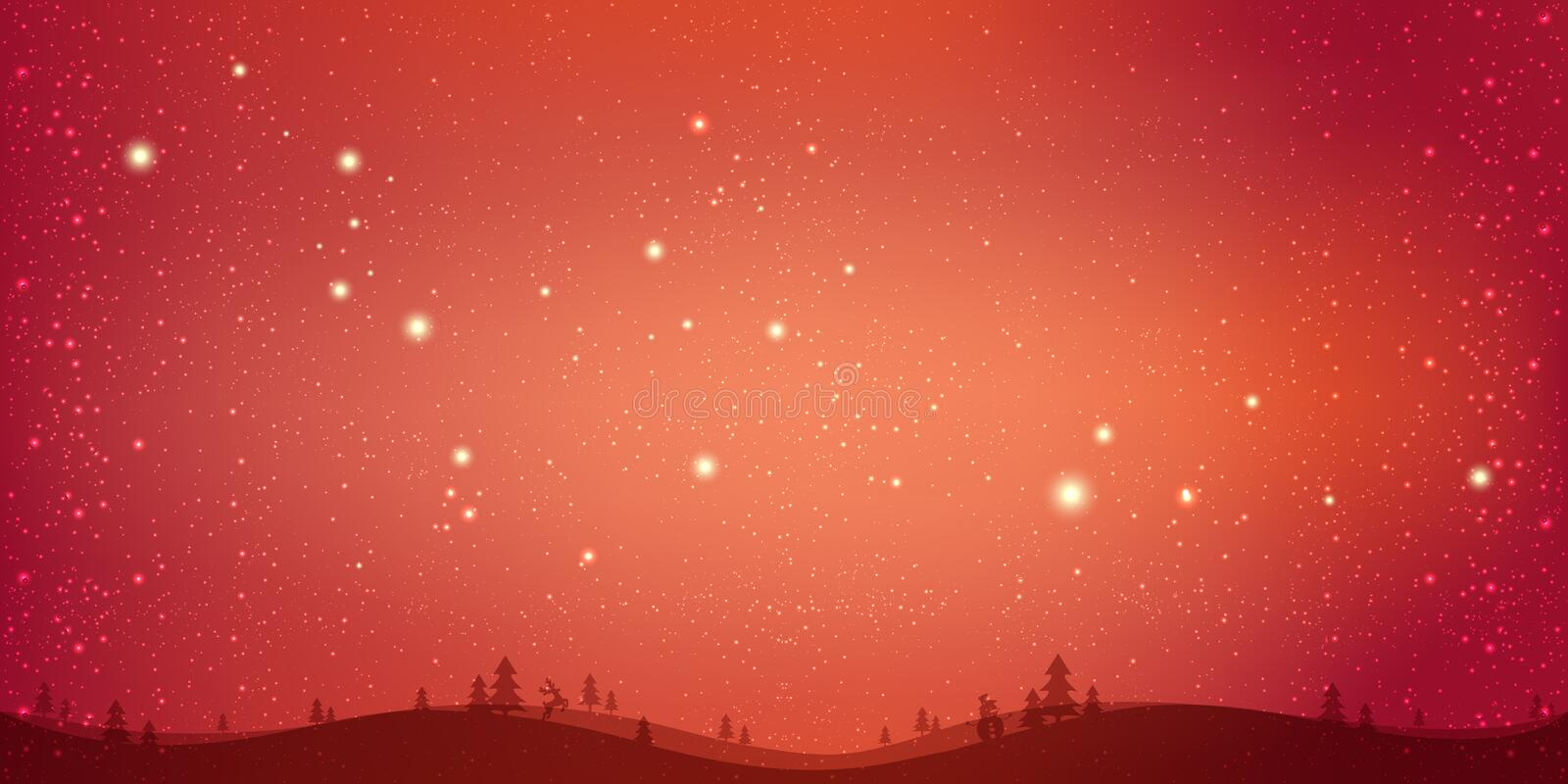 Red winter Christmas background with landscape, snowflakes, light, stars. Xmas and New Year card. Vector Illustration royalty free illustration