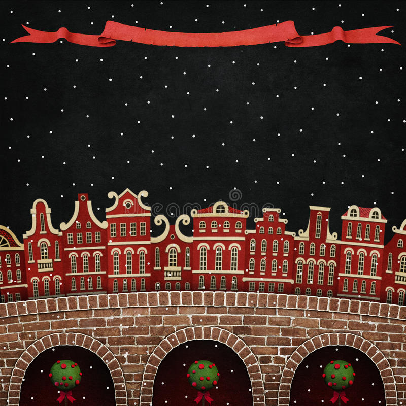 Red winter city vector illustration