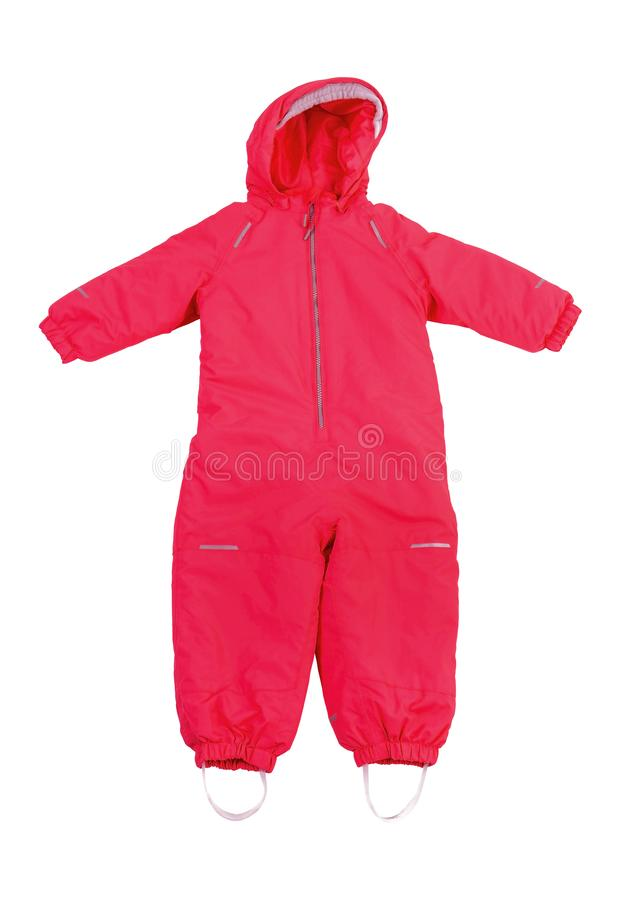 Red winter coveralls for girl. Hooded warm baby cloth isolated on white background stock image