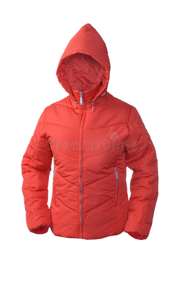 Red winter padded jacket. Red winter padded hooded jacket stock photos