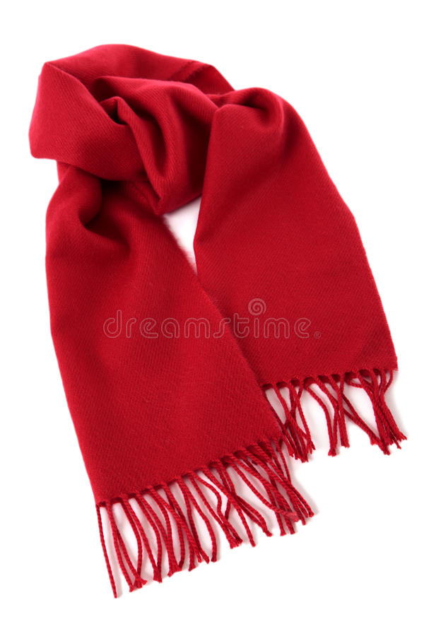 Red winter scarf. Isolated against a white background royalty free stock image