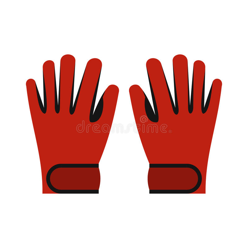 Red winter ski gloves icon, flat style vector illustration