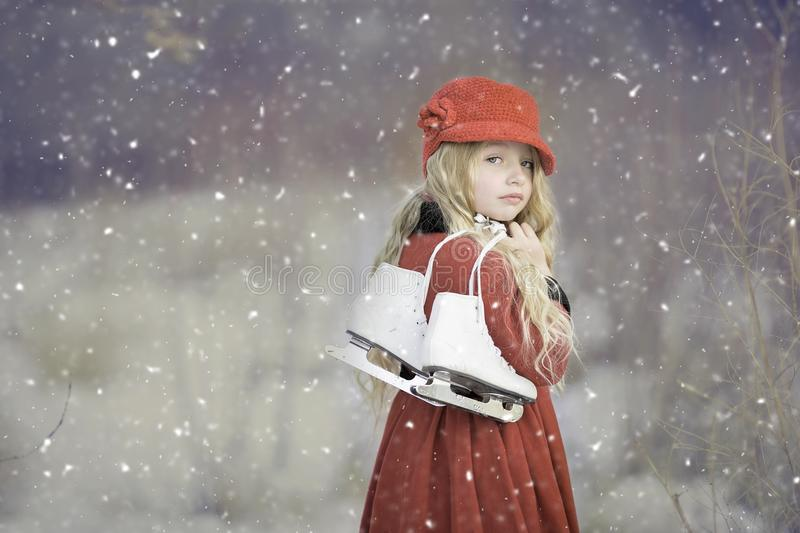 Red, Winter, Snow, Girl stock images