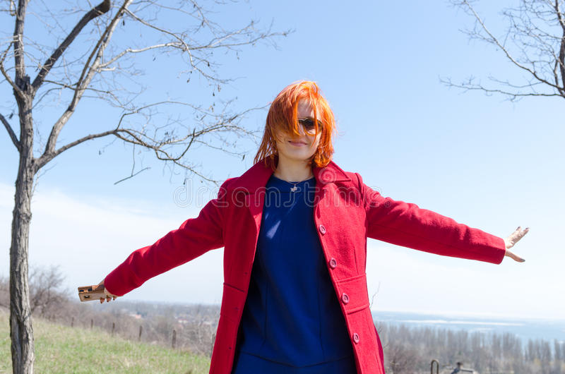 Download Red Woman Enjoying Sunny Day Stock Image - Image: 31292523