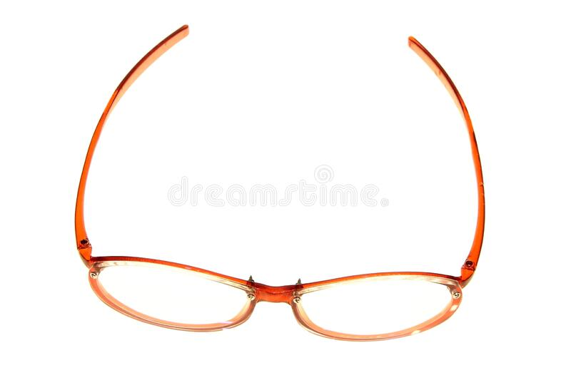 Red woman glasses made of plastic. On white background stock image