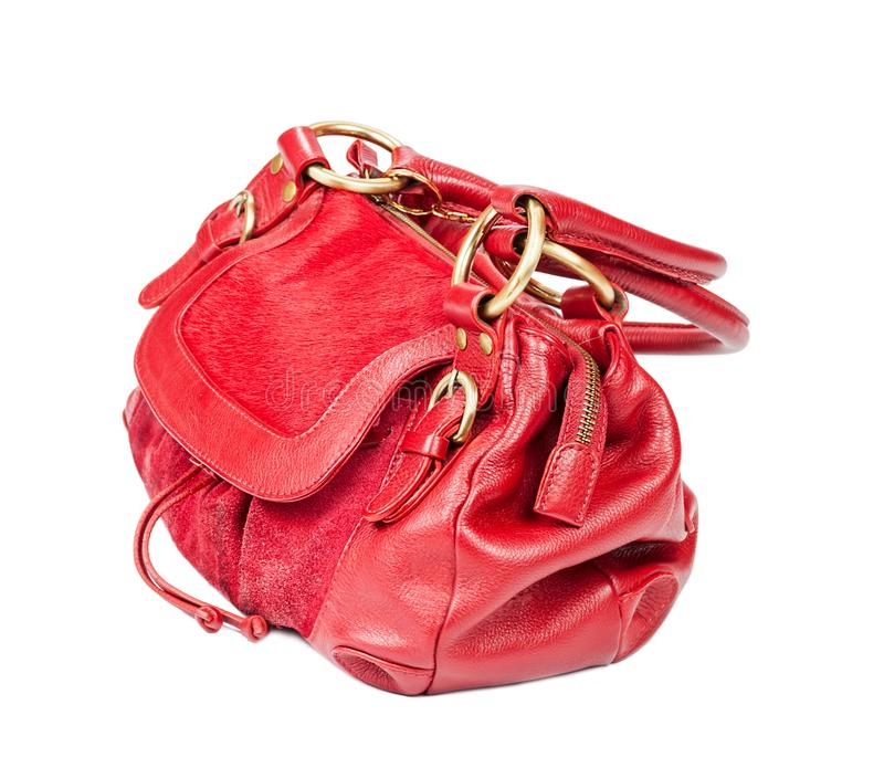 Red purse isolated. Red woman`s purse isolated on white background stock images