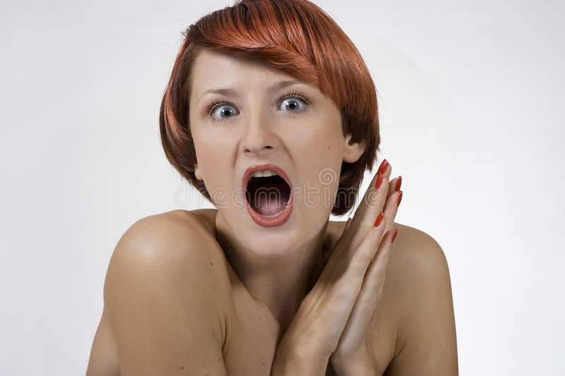 Red woman with studio royalty free stock images