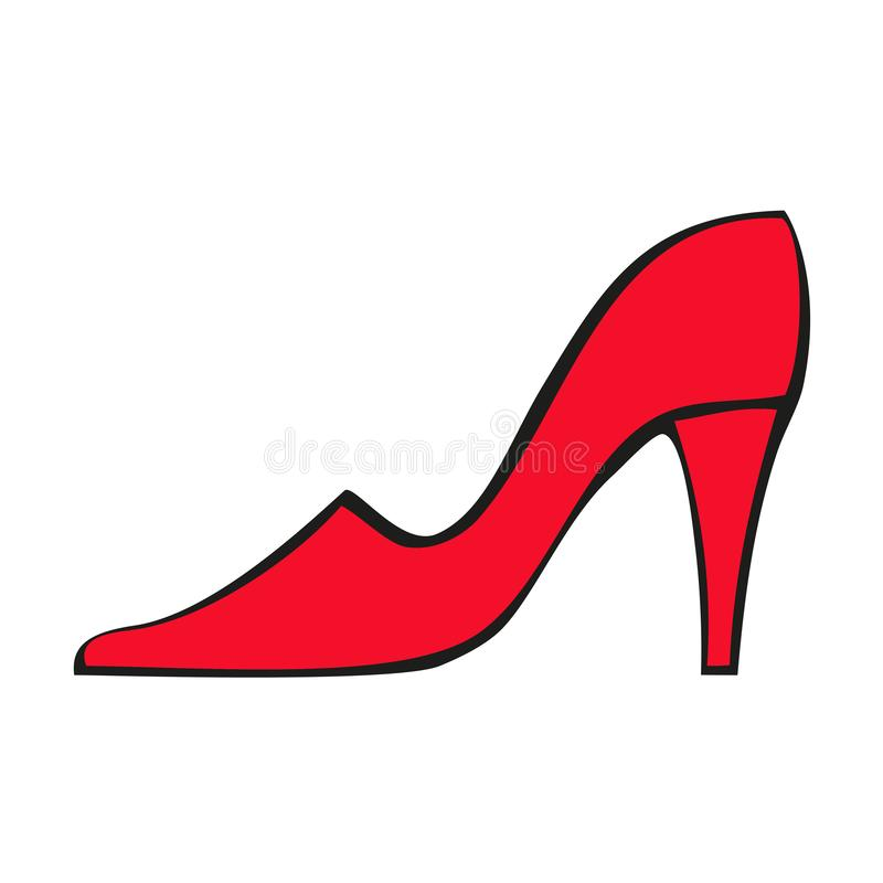 Red women`s shoe with heel. Vector flat icon isolated on white background. vector illustration