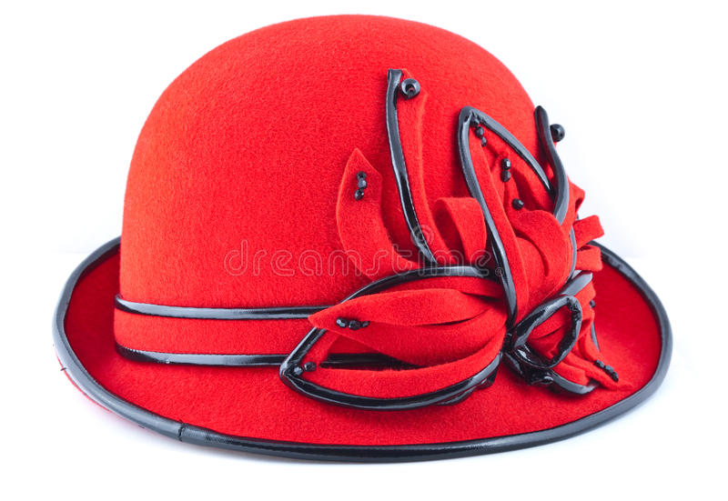 Red womens hat. Isolated on white background royalty free stock images