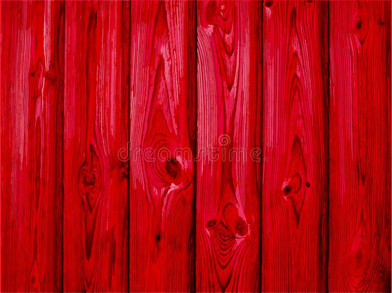 Red wood background - Vector. old wooden painted background royalty free illustration