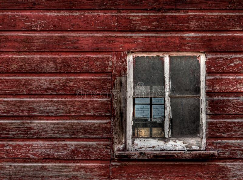 Red Wood Building - Broken Window (horizontal) Stock Images