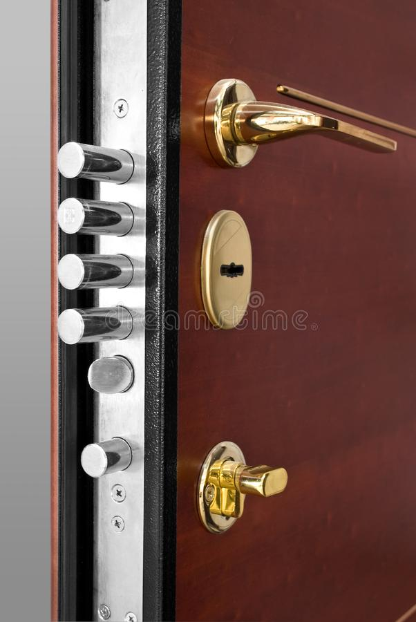Red Wood Door With Gold Lock And Handle. Handle And Keyhole stock photos