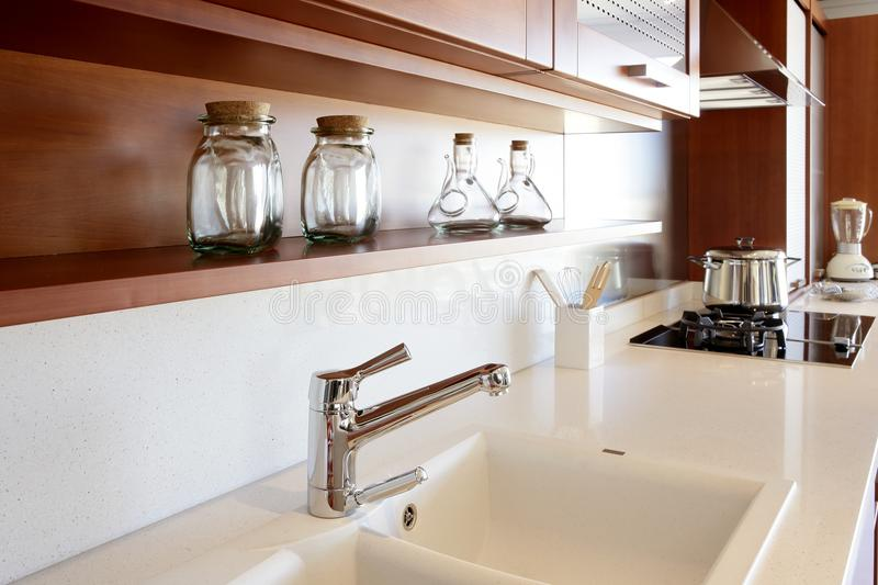 Download Red Wood Kitchen White Kitchen Bench Stock Image   Image Of  Laminate, Architecture: